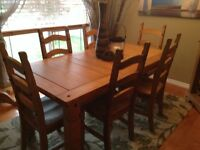 Pier 1 dining table, chairs and matching cabinet/wine rack