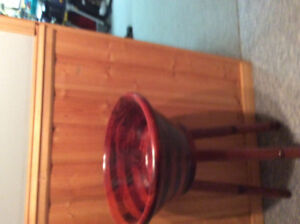 Large Wooden Salad Bowl on Wooden Stand