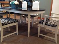 Shabby Chic dining Table and 6 Cane Chairs