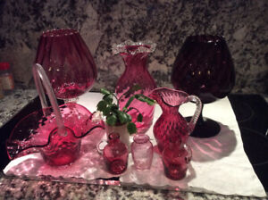 Cranberry Glass Vessels $6 and up
