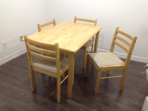 Solid pine wood dining set with 4 chairs - $230