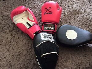 Sting boxing gloves and three sets of pad Redcliffe Redcliffe Area Preview