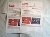 ALTON TOWERS TICKETS X 2 FOR SALE THURSDAY 29TH SEPTEMBER