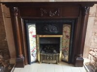 FIREPLACE SURROUND, TILED INSERT , GAS FIRE HEARTH - VICTORIAN STYLE