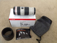 like new canon EF 70 200 f4 L IS USM telephoto in box