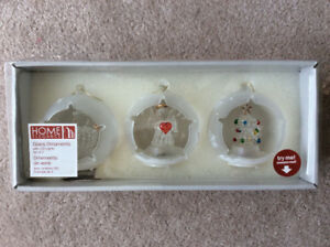 Glass Ornaments with LED lights- Set of 3! New
