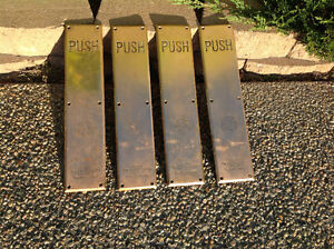 4 Antique Solid Brass Door Push Plates