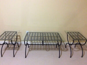 Wrought iron glass top coffee table and 2 end tables