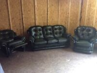 CHESTERFIELD STYLE REAL LEATHER SUITE FANTASTIC CONDITION