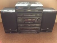 SAMSUNG stereo, CD, cassette tape player with separate record player & instuctions