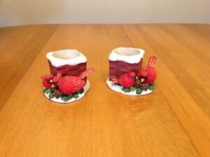 BEAUTIFUL RED WINTER CARDINAL CANDLE HOLDERS