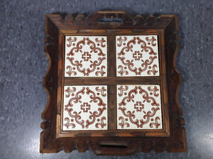 "Vintage wood and tile decorative tray - 13""x13"" Cambridge Kitchener Area image 7"