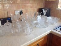 Variety of crystal cut glass,glasses dishes vases