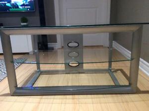 Meuble pour télé - verre trempé et cadre d'acier métallique