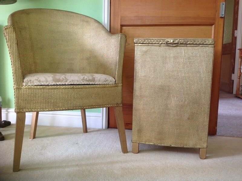 Gold rattan chair and chest