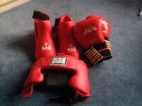 Kickboxing foot pads, gloves and padded head gear