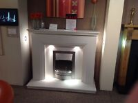 Ex Display Step 52 White Complete Fireplace With Lights