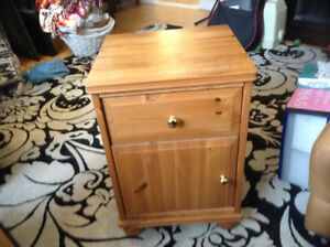 Two wood bedside tables with drawers in mint condition.