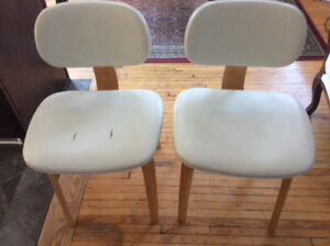 2 wood and vinyl dining chairs