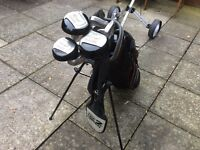 Hippo golf clubs and trolley