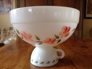 Vintage Fire King Colonial Gay Fad Peach Blossom bowl
