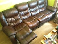 FREE FREE Leather sofa with recliners at each end FREE FREE
