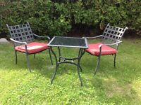 Iron table and 2 chairs, patio set (2 chairs)