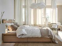 Lit +matelas IKEA grandeur double couleur bouleau