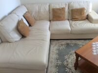 Large corner real leather sofa