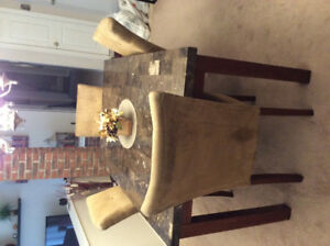 Dining room set.  Table and 4 microfibre chairs