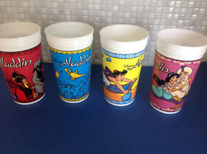 Burger King Disney's ALADDIN Complete set of 4 Plastic Cups