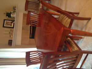 Solid wood dining set with 6 chairs and buffet and extension