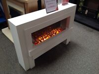 Electric Suite in White with Pebbles, Freestanding, 2KW Fan Heater