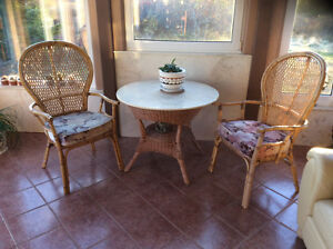 Wicker bamboo table and chairs