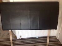 Headboard black leather looking double bed good condition condition fling a offer