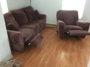 Sofa et fauteuil inclinable