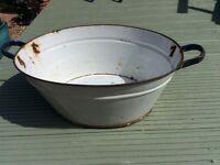 Vintage large Galvanised blue/white wash tub (wedding/garden) £20