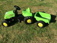 Rolly Toys Green Pedal Tractor & Trailer