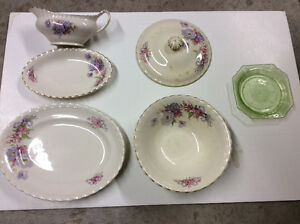 Vintage Meakin dishes and depression glass dish