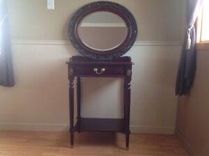 Miroir oval antique et table console