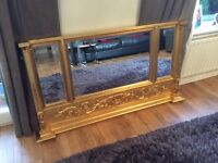 Gold large mantle mirror