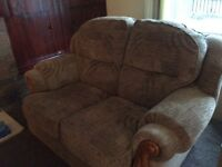 2x 2 seaters brown mink sofas and large foot stool