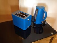 Kettle and toaster combo by Sainsbury's in blue and brushed steel.