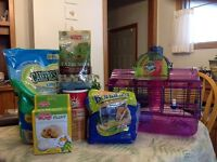 Dwarf hampster cage and supplies