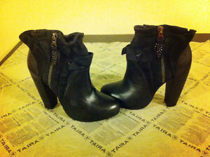 Rebecca Taylor Ruffle Leather Suede Bootie