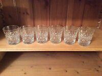 6 Tudor Crystal whisky glasses