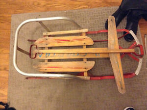 Vintage metal and wood baby sled for sale