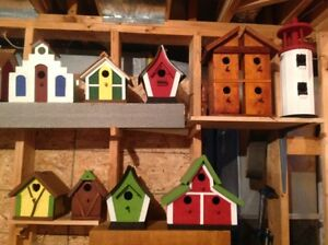 hand crafted birdhouses