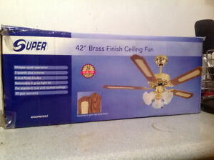 "42"" brass ceiling fan with lights"