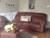 DFS Brown Recliner Sofa, Chair & Footstool
